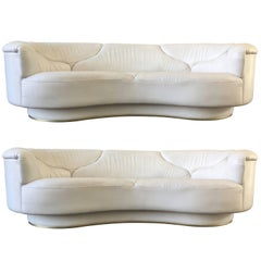 High Quality Sofas in White Leather, De Sede, Milo Baughman