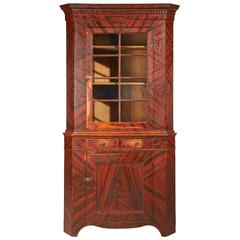 Pennsylvania Corner Cupboard with Red and Black Grain Decoration