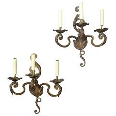 Pair of French three-Arm Louis XV Style Sconces