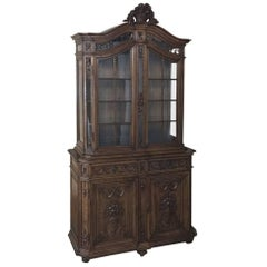 19th Century Grand French Louis XVI Hand Carved Walnut Bookcase