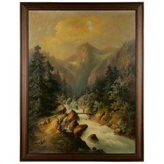 19th Century Historicism Style Oil on Canvas Alpine Landscape