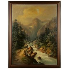19th Century Historicism Style Oil on Canvas Alpine Landscape