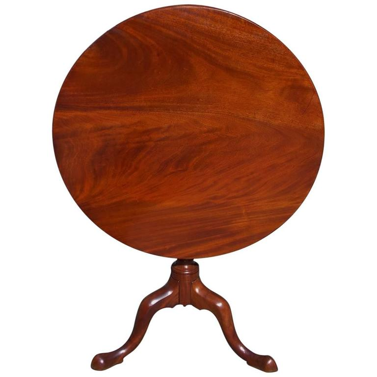 English Mahogany One Board Tilt-Top Pedestal Tea Table, Circa 1770