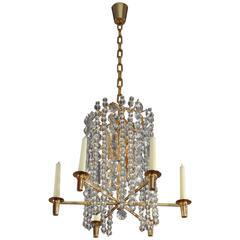 Bakalowits Chandelier Pendant Light, Gilt Brass Crystal Glass, Vienna, 1960s
