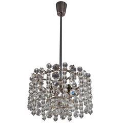 Bakalowits Chandelier Pendant Light, Crystal Glass Nickel, Austria, 1960s