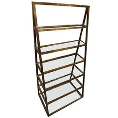 Early 20th Century Brass Shelving Unit