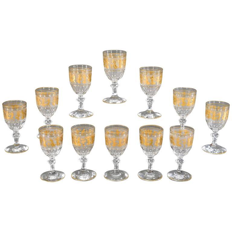 Set of 12 Val St. Lambert Handblown Crystal Cameo Goblets with Gold Roman Motifs