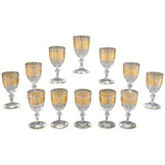 Set of 12 Val St. Lambert Handblown Crystal Cameo Goblets with Gold Roman Motifs