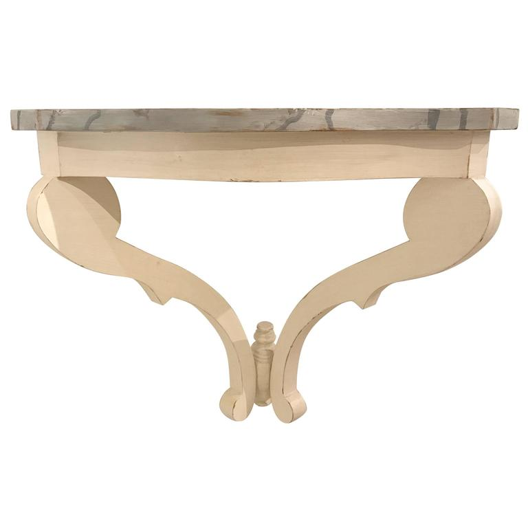 Painted Wall Mount Bracket or Console with Marbleized Top