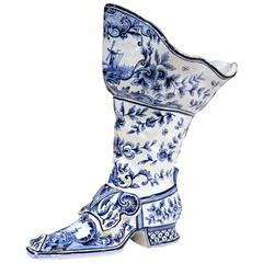 Early 20th Century Blue and White Delft Vase Shaped as a Boot