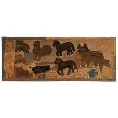 Large Hooked Rug Depicting Horses, Cats, Doves, Dog, Eagle and Rooster