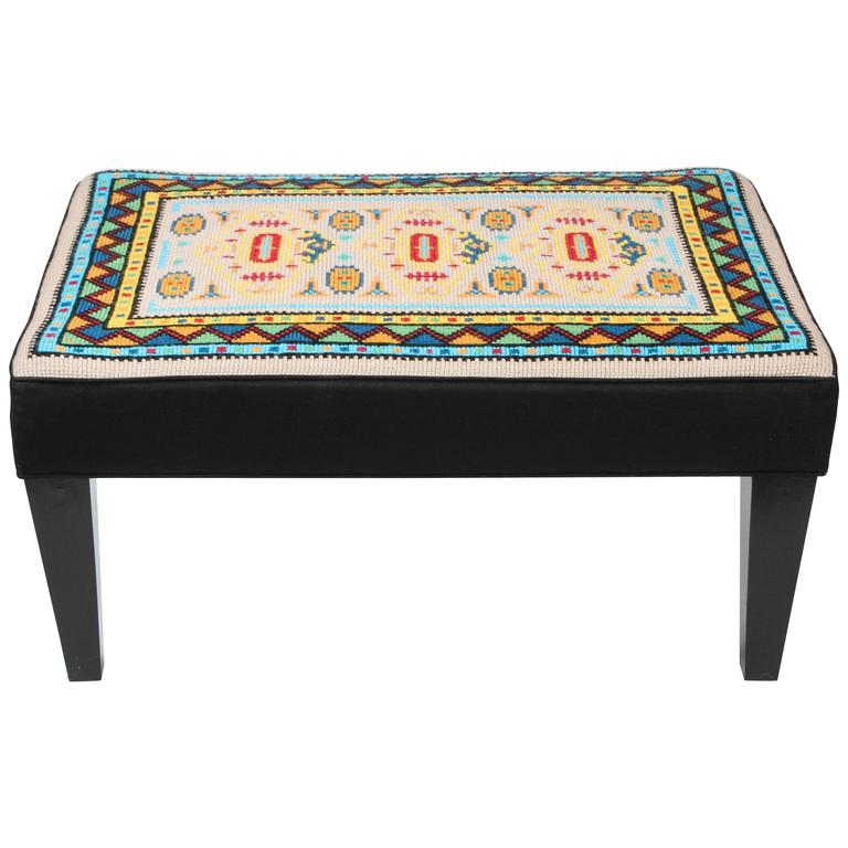 Vintage Needlepoint Ottoman For Sale At 1stdibs