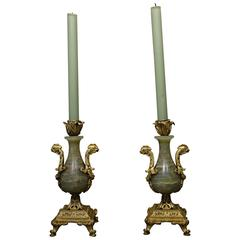 Pair of Candlesticks in Bronze and Onyx, France, circa 1870
