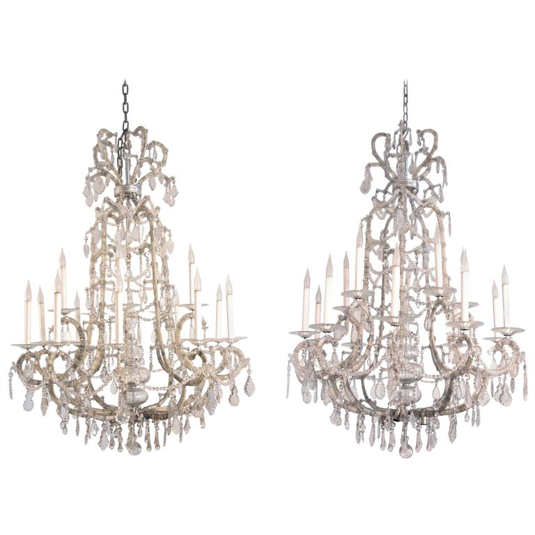 Pair Of Large Louis Xv Style Chandeliers In Silvered Bronze 1920 Period For