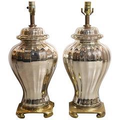 Pair of Mercury Glass Ginger Jar Lamps