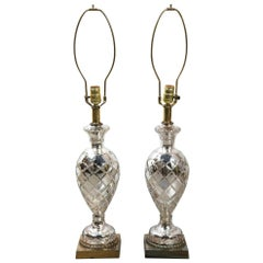 Pair of 1930s French Cut Mercury Glass Table Lamps