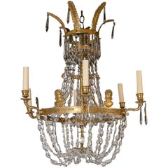 Swedish Empire Style Chandelier with Crystals