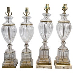 1930, French Molded Glass Table Lamps