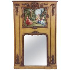 19th Century French Trumeau Mirror with Carved and Painted Decoration