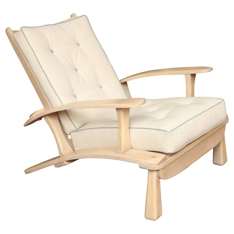 Adjustable Oak Lounge Chair For Sale