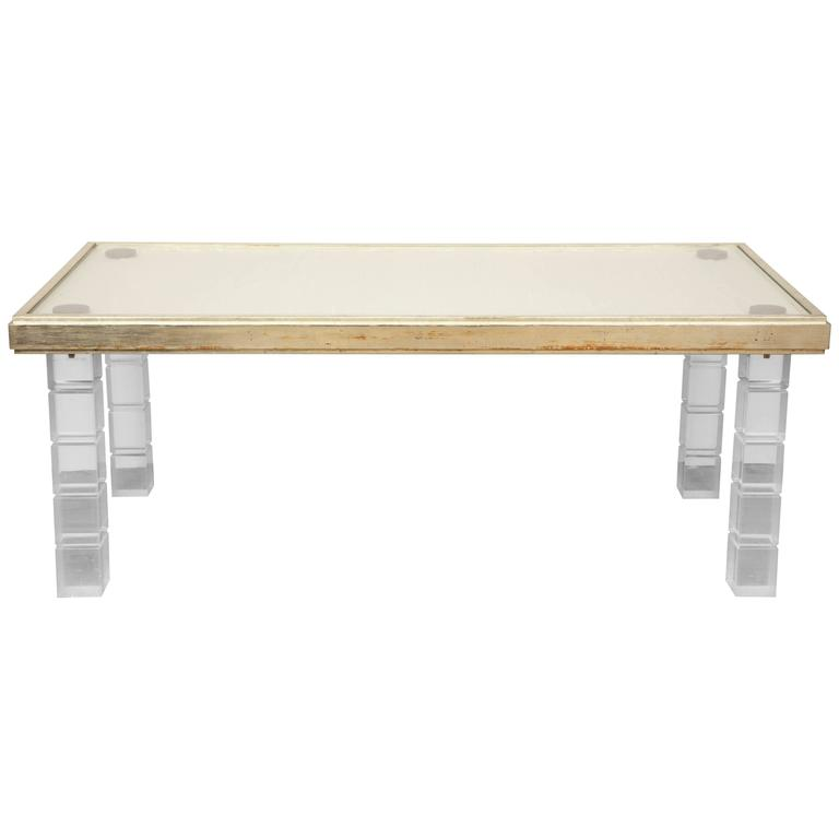 Lucite and Gessowork Coffee Table For Sale