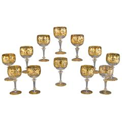 12 Moser Handblown Crystal Wine or Water Goblets with Profuse Raised Paste Gold