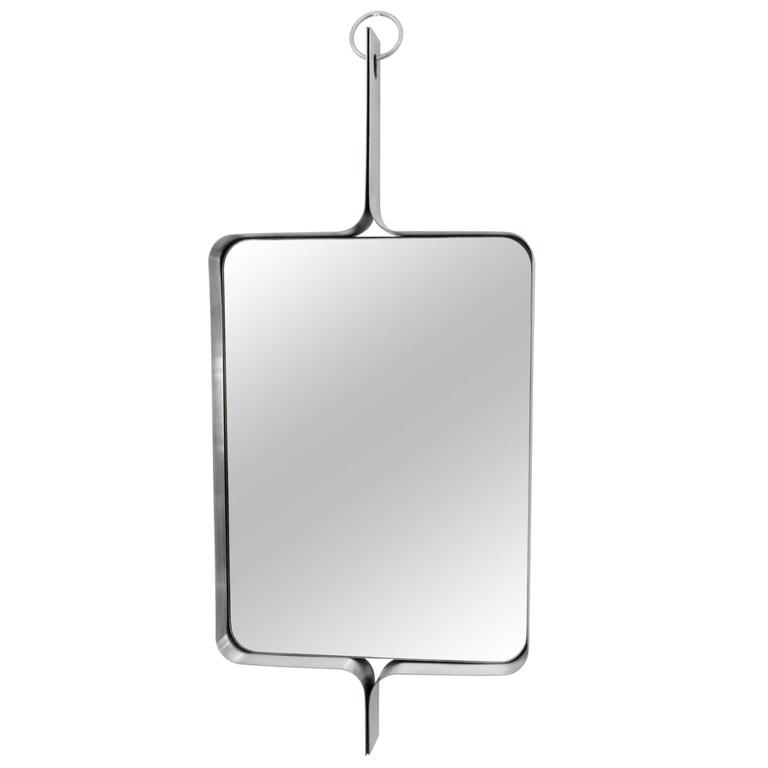 Xavier-Feal French Rectangular Brushed Stainless Steel Wall Mirror, circa 1970 For Sale