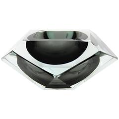 Flavio Poli Smoked Grey and Clear Faceted Sommerso Murano Glass Ashtray