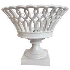 19th Century Woven Porcelain Bowl on Stand