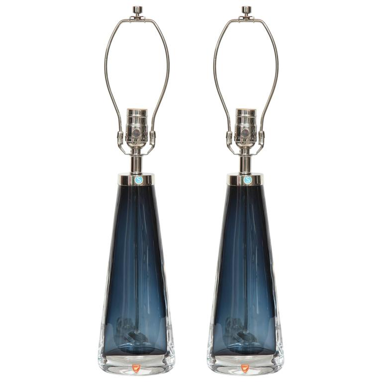 Nils Landberg for Orrefors Smoked Blue Crystal Lamps