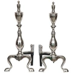 Polished Nickel Chippendale Style Andirons