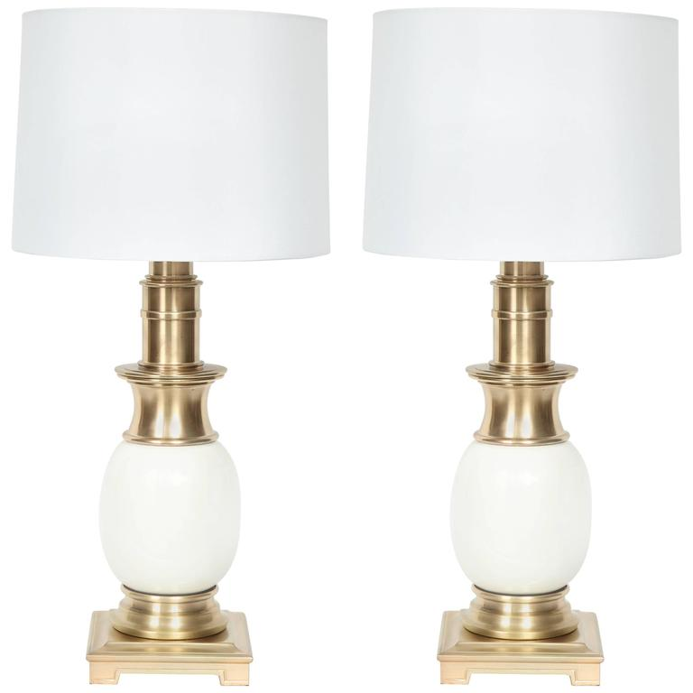 Stiffel Satin Brass and White Ceramic Lamps For Sale
