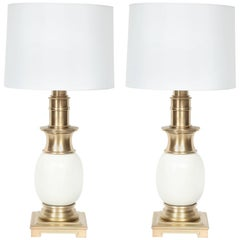 Stiffel Satin Brass and White Ceramic Lamps