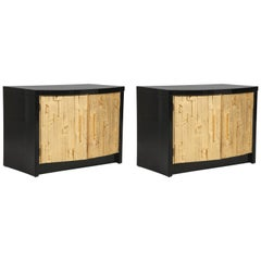 Brutalist Style Black Lacquer and Gold Leaf Nightstands