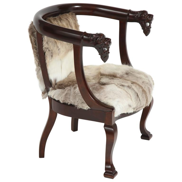 19th C. Carved Lion Head Mahogany Club Chair For Sale