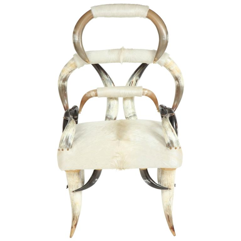 Sculptural American Horn Chair For Sale