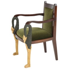Swedish Regency Style Period Parcel Gilt Armchair