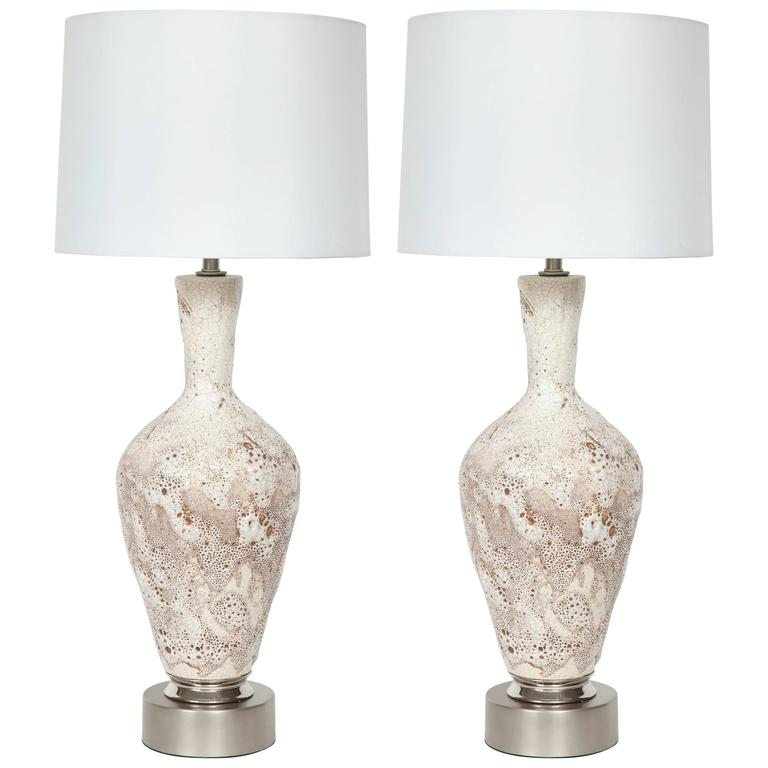 Italian Mid-Century Froth Glazed Ceramic Lamps For Sale