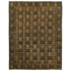 Distressed Antique Persian Bakhtiari Rug with Garden Design