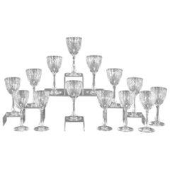 Set of 16 Webb Handblown Crystal Goblets with Art Deco Copper Wheel Engraving