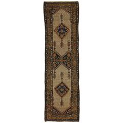 Camel Hair Antique Persian Malayer Runner with Modern Tribal Style