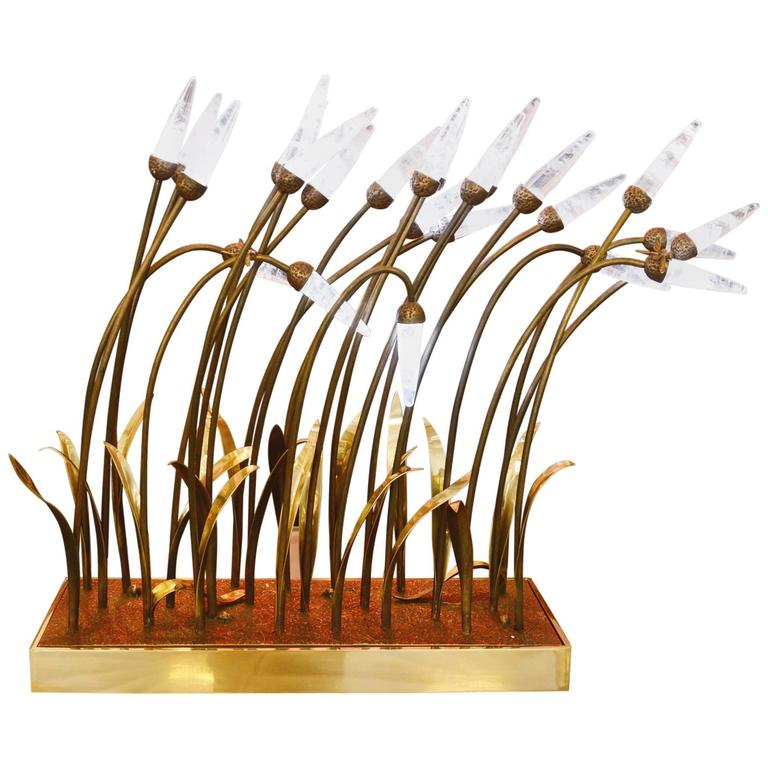 Crystal Rock Reeds Table Lamp with Crystal Rock and Bronze