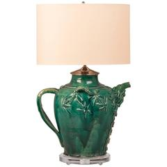 Vintage Chinese Green Glazed Pottery Vessel circa 1950 Now as a Custom Lamp