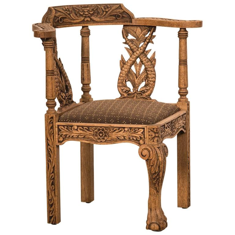 Antique English George III Style Weathered, Carved Oak Corner Chair, Circa  1895