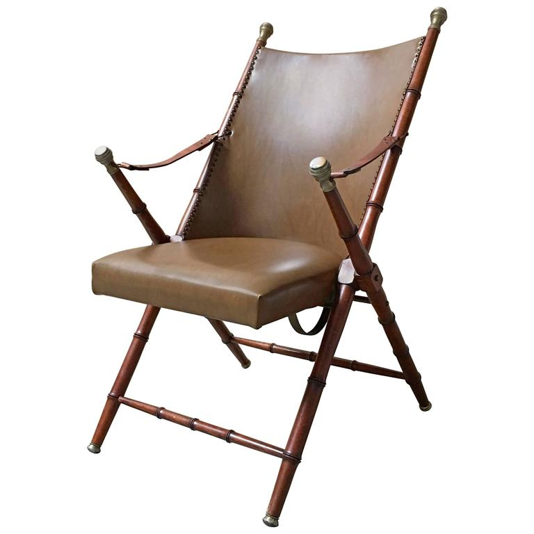 Faux Bamboo Campaign Mid-Century Chair 1
