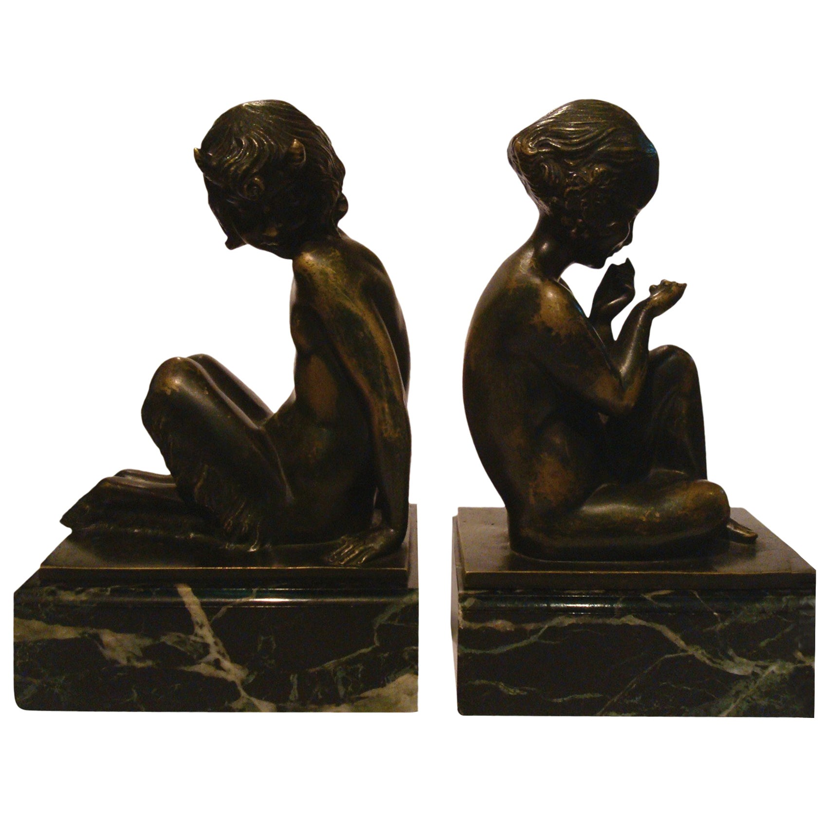 Art Deco Bronze Bookends with Satyr and Girl by Pierre Laurel, 1930