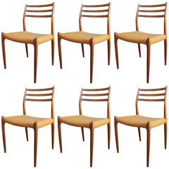 Set of Six Teak Side Chairs, Model 78, by Neils Otto Møller for J.L. Møllers