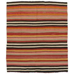 Vintage Turkish Kilim Rug With Stripes And Boho Chic Style, Striped Flat  Weave