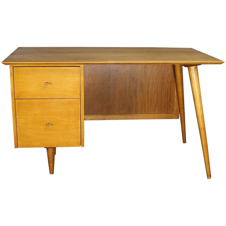 Paul McCobb Planner Group Desk with Cane Modesty Panel, Mid-Century Modern