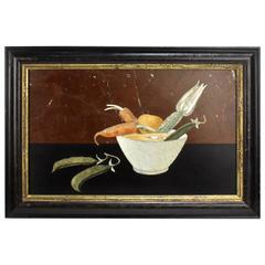 Antique Framed Italian Vegetable Still Life Pietra Dura Plaque